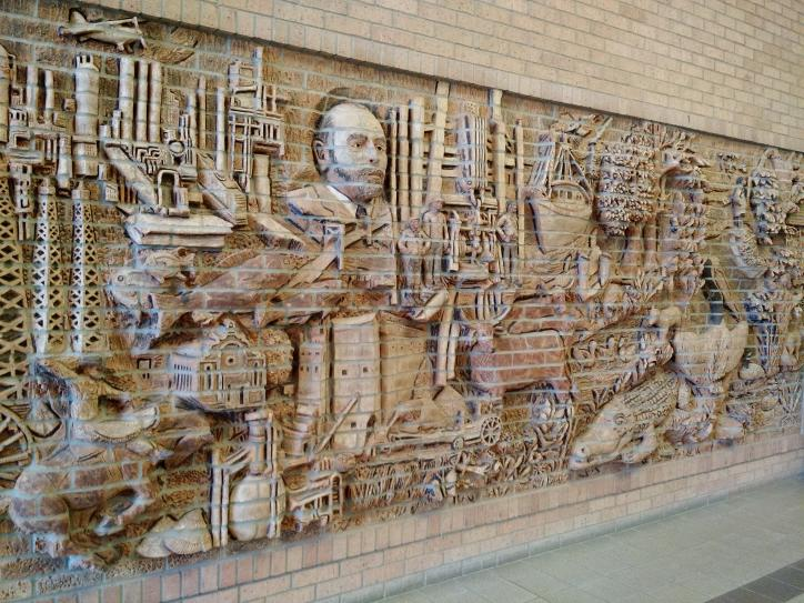 Brick mural at Sulphur library