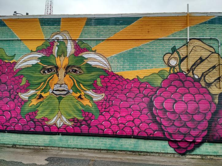 Bacchus mural near Cotten