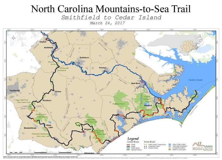 JoCo Mountains to Sea Trail Map