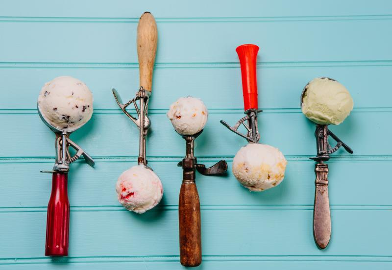 Five ice cream scoops from Lick Honest Ice Cream