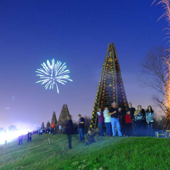Christmas Eve Bonfires on the Levee