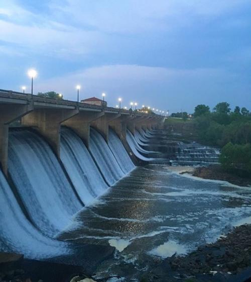 Glick Park and O'Shaughnessy Dam at dusk.