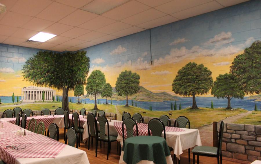 Escape to Greece Mural at Olive Tree
