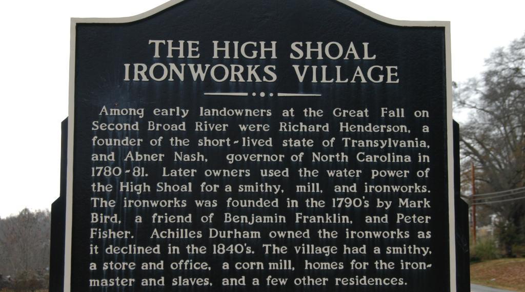 High Shoals Iron Works Marker