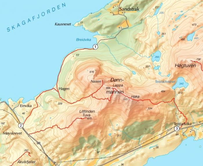 Kart utgangspunkt for Dønnmannen