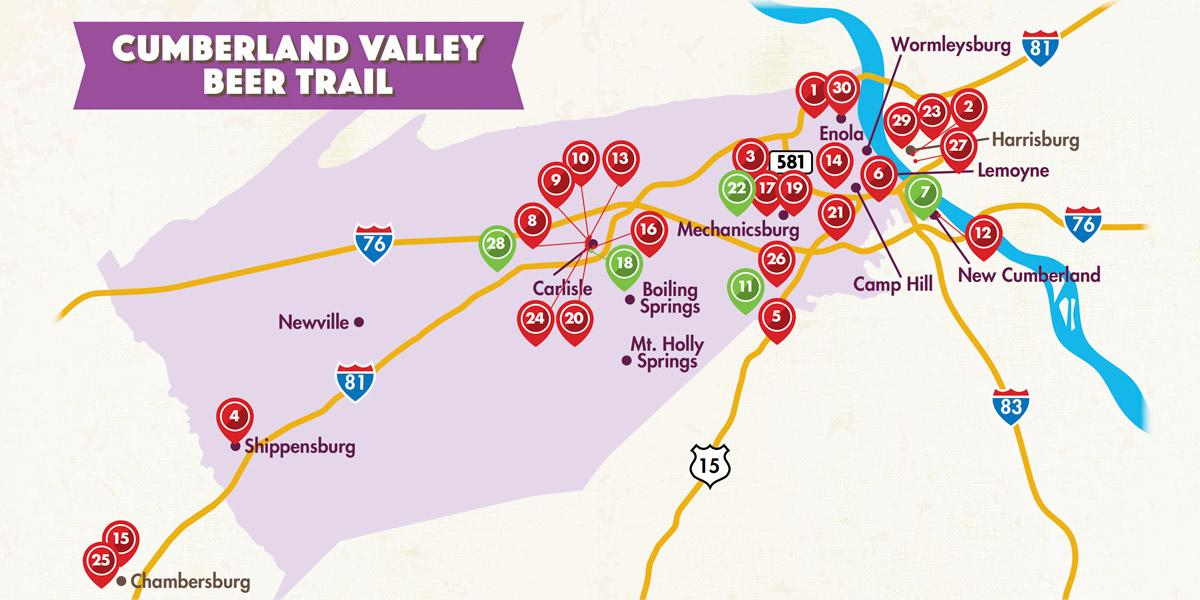Beer Trail Locations Map