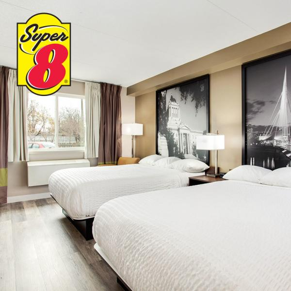 Two queen room at Super 8 Winnipeg West