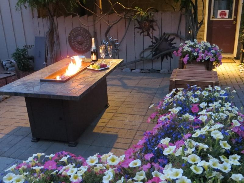 Outdoor patio with fireplace and white, purple and pink petunias.