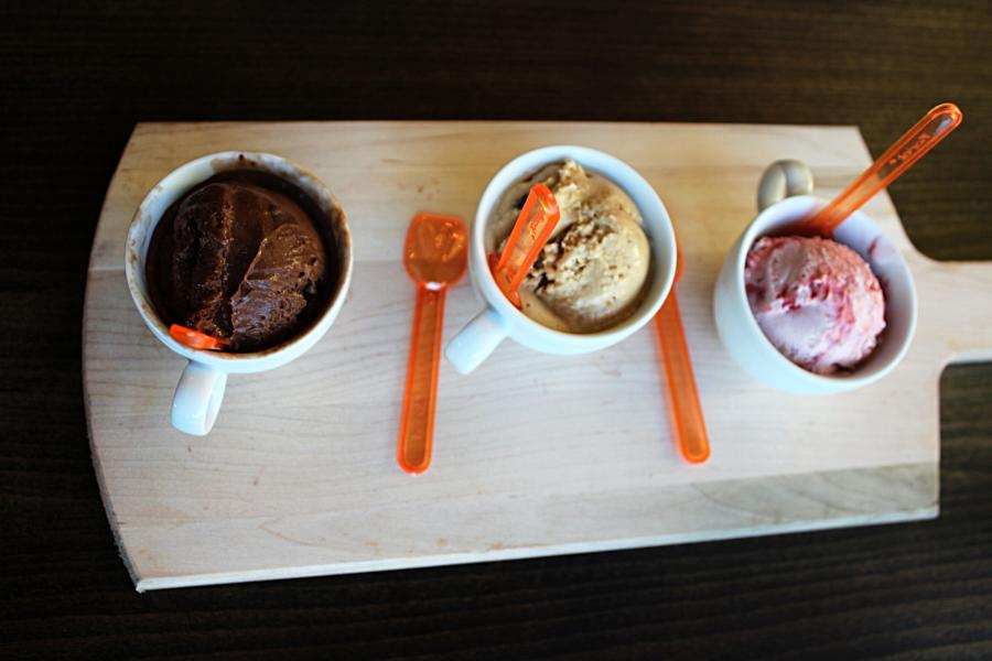 Chocolate, Salted Caramel, and Strawberry Gelato from Midici