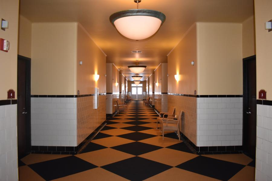 Shot of Roosevelt Bath & Spa hallway