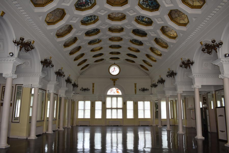 Shot of empty Canfield Casino ballroom in Saratoga, NY
