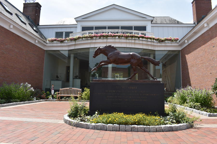 Shot of Secretariat statue at National Museum of Racing and Hall of Fame