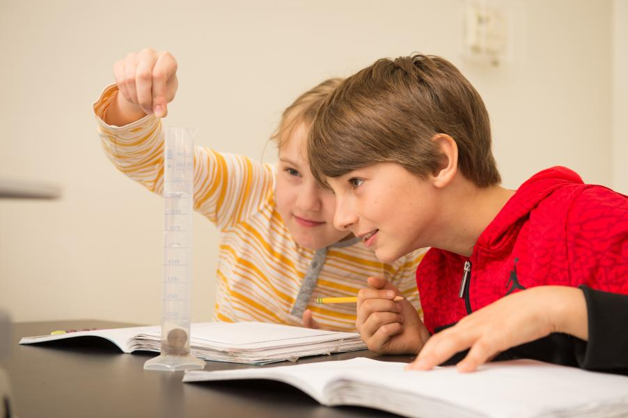 Children studying together with book