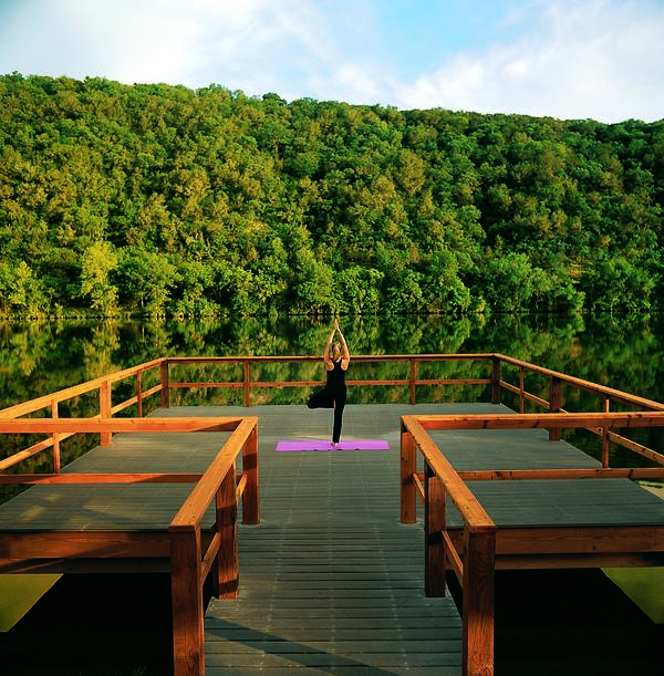 Yoga on the Yoga Deck at Lake Austin Spa Resort.