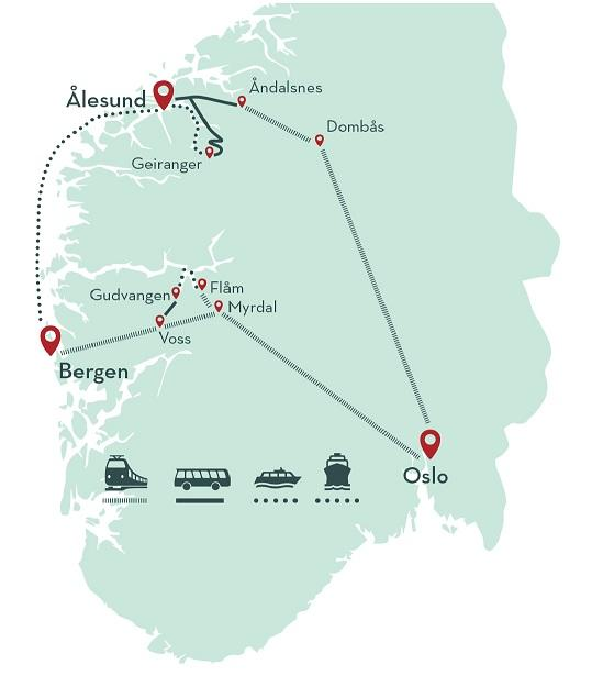 Geirangerfjord in a Nutshell map