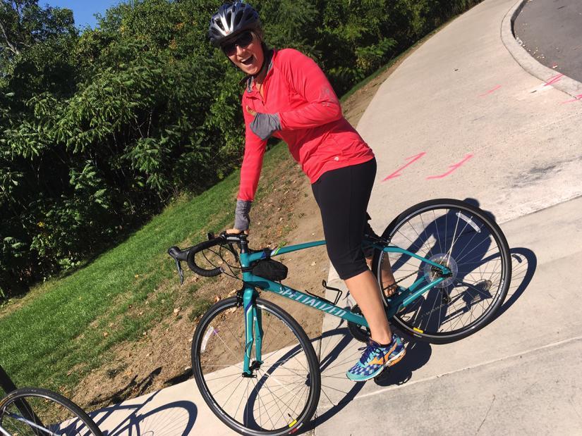 Melissa on her bike