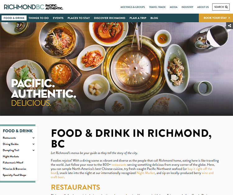 Food and Drink Page on the new Visitrichmondbc.com website launching February 20