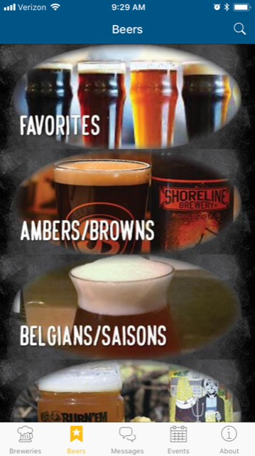 Brewery Trail App Screenshot - Beers