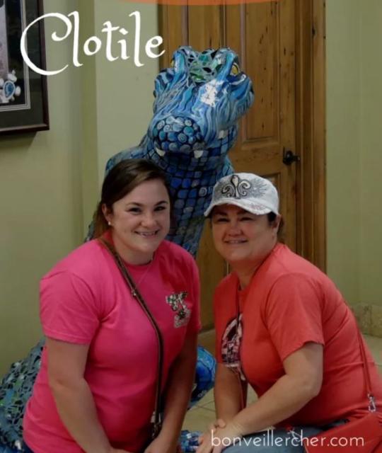 Katrina & Lexi posing with Clotile the CVB Gator.