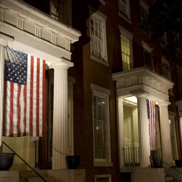 Linden Row Inn at night