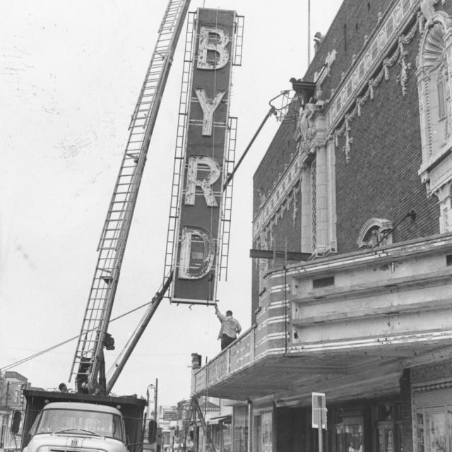Byrd Sign (dilapidated) Removal in 1971, expected to be replaced in coming years