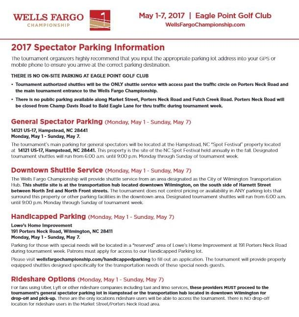Wells Fargo Parking Information Sheet