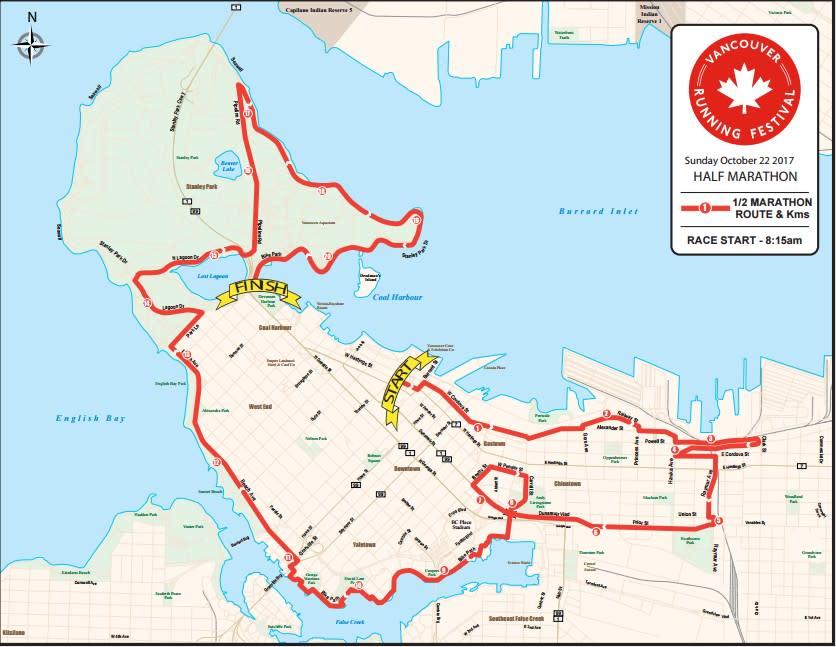 Vancouver Running Festival Half Marathon Route