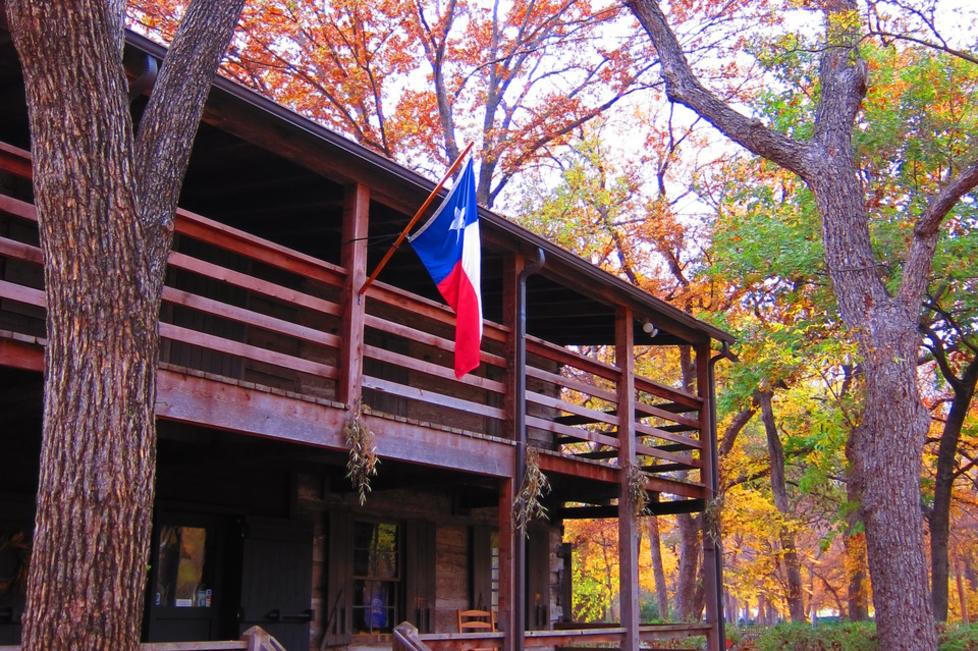 Foster Cabin at Log Cabin Village in the fall