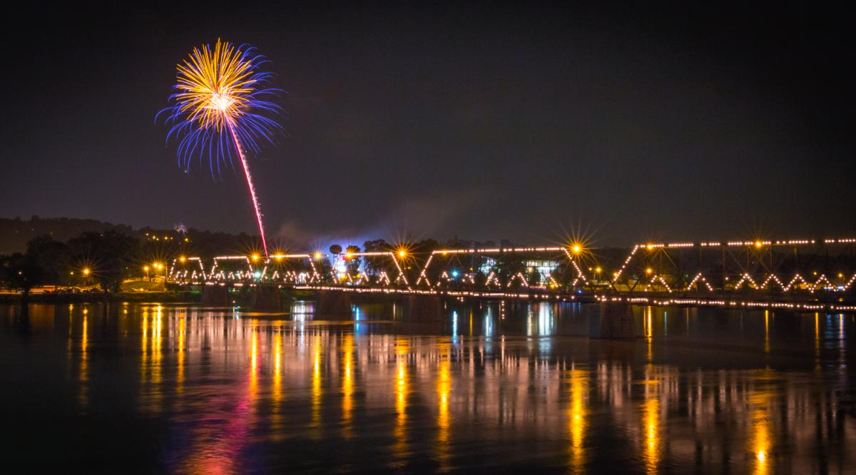 Fireworks over Susquehanna River Harrisburg