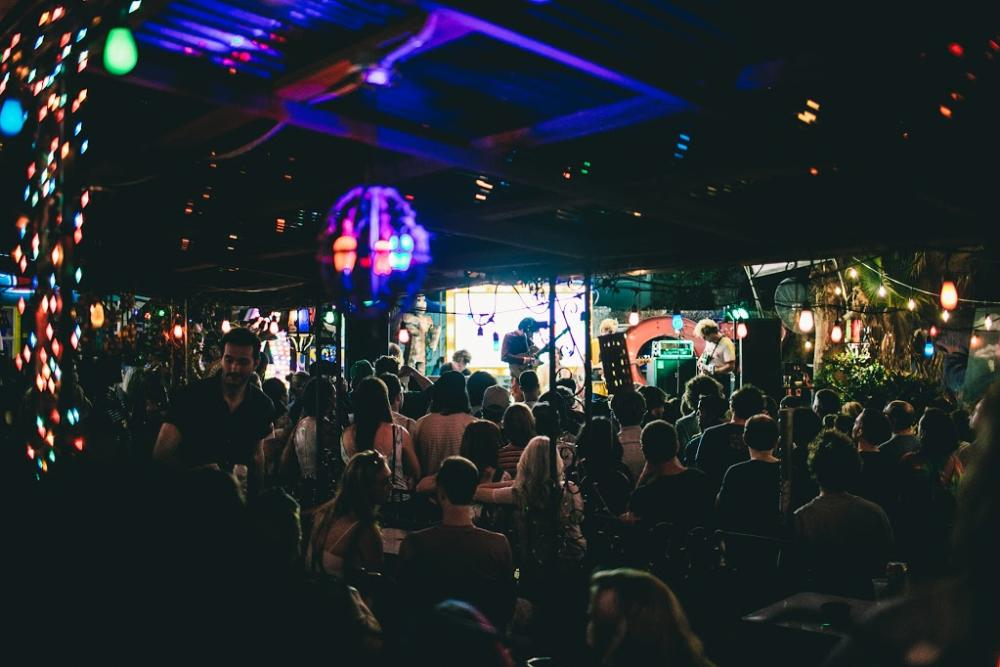 SXSW music showcase with band on stage at night at Spider House Cafe and Ballroom