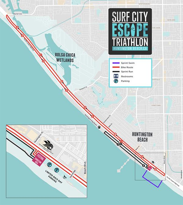 Surf City Escape Triathlon Sprint Course