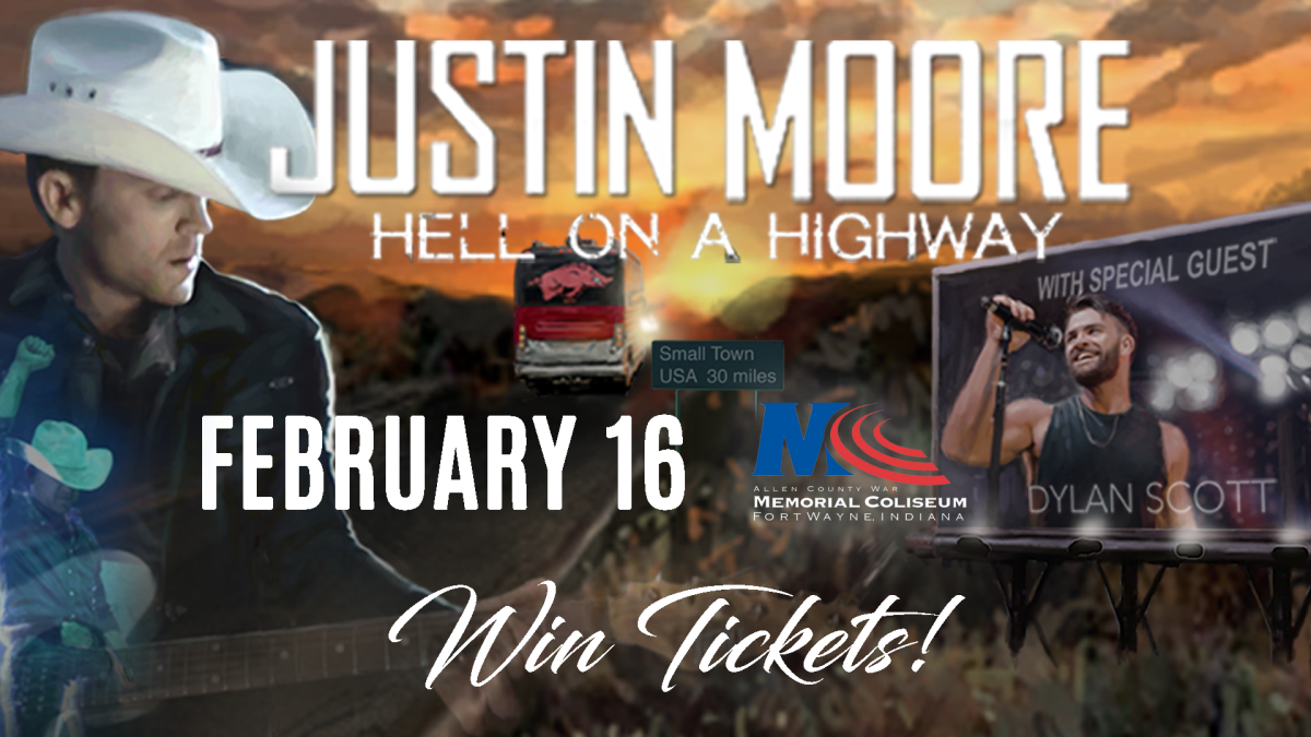 Justin Moore Concert Giveaway Graphic - Fort Wayne, Indiana