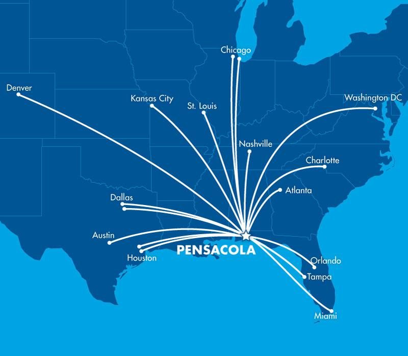 Non-stop flights to Pensacola