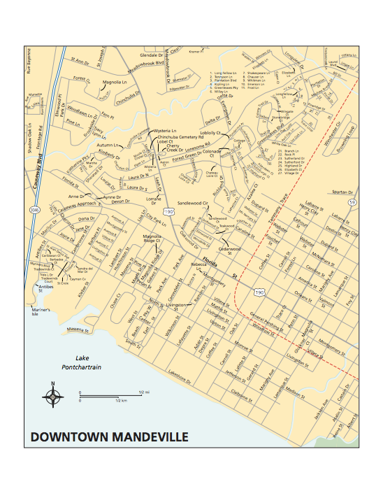Map of Mandeville Downtown