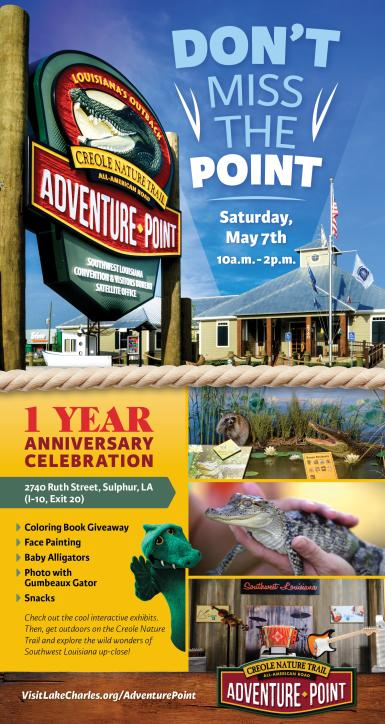 Creole Nature Trail Adventure Point May 7, 2016 event information.