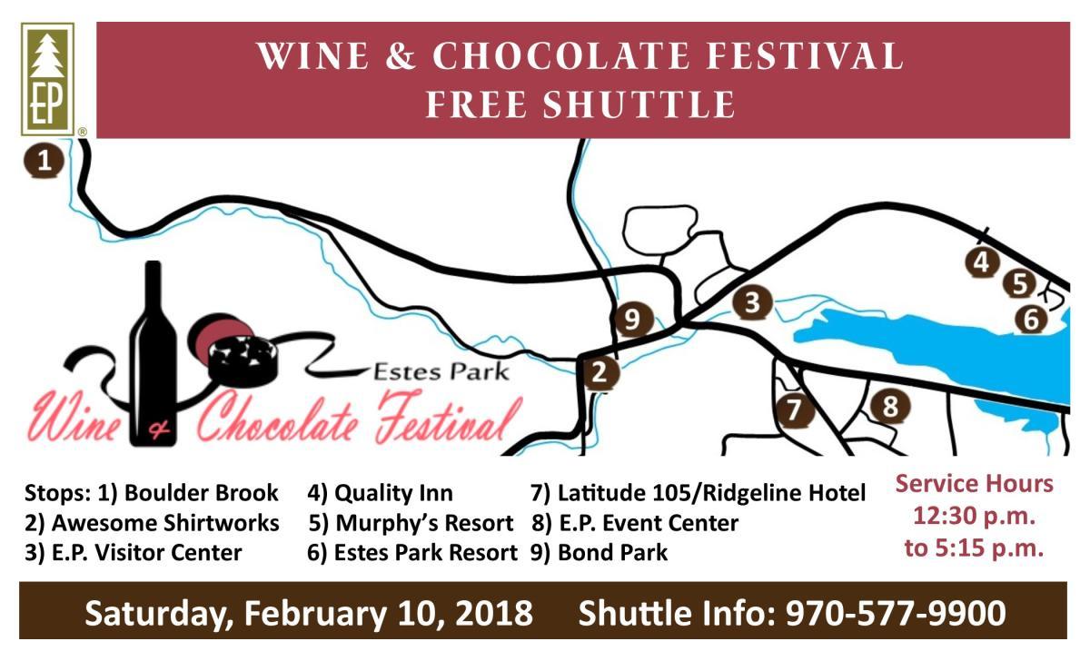 Wine & Chocolate Festival Shuttle Map 2018