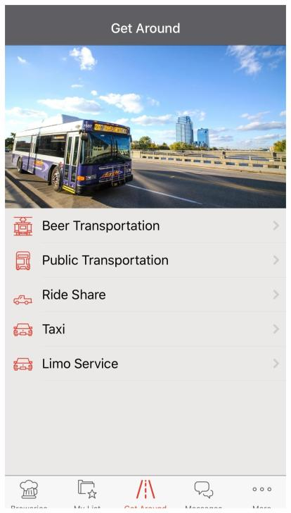 Screenshot of the Get Around Section of Brewsader App