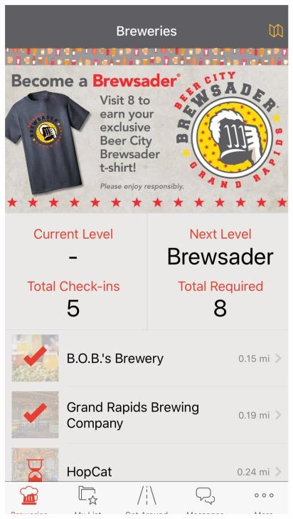 Screenshot Brewery Section of the Brewsader App