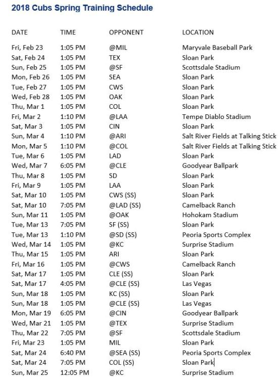 2018 Cubs Spring Training Schedule