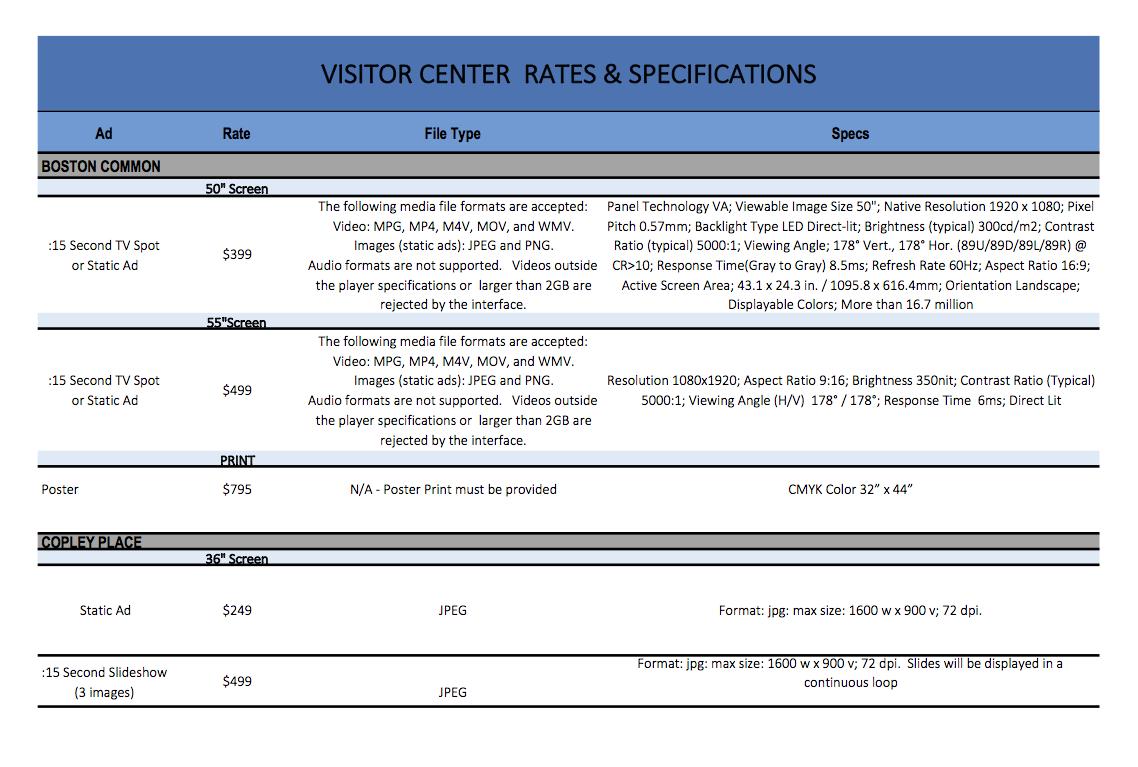 Boston Visitor Center Ad Rates