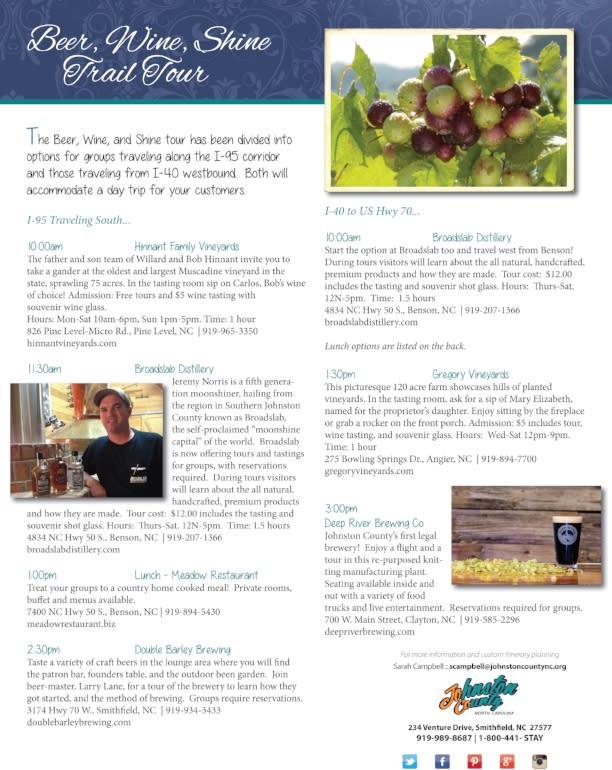 Beer, Wine & Shine Trail Itinerary