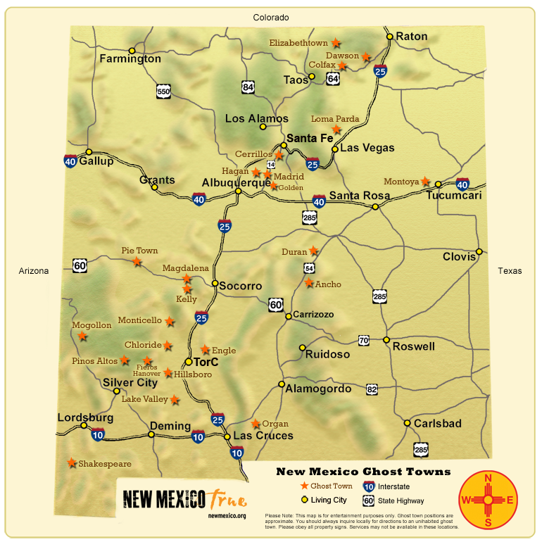 Ghost Towns Of New Mexico Trail Map New Mexico True - Map of arizona and new mexico