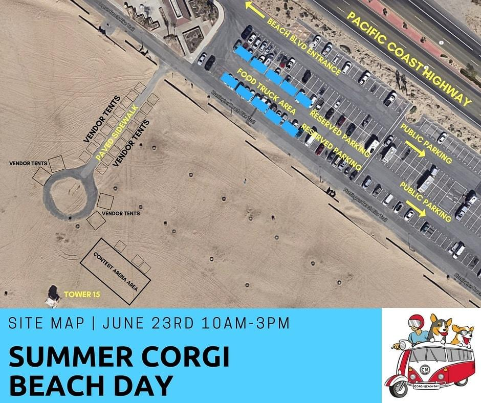 Huntington Beach Corgi Beach Day Map
