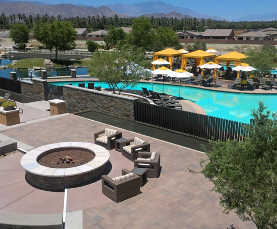 Fire pit and pool view at Trilogy