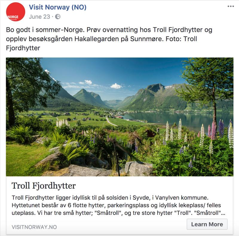 Bygdeturismekampanjen FB post sommer