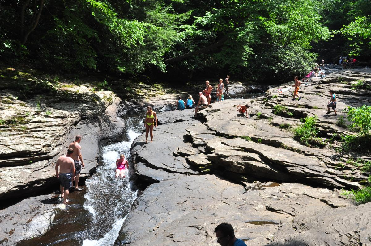 People play at Natural Water Slide at Meadow Run, Ohiopyle State Park