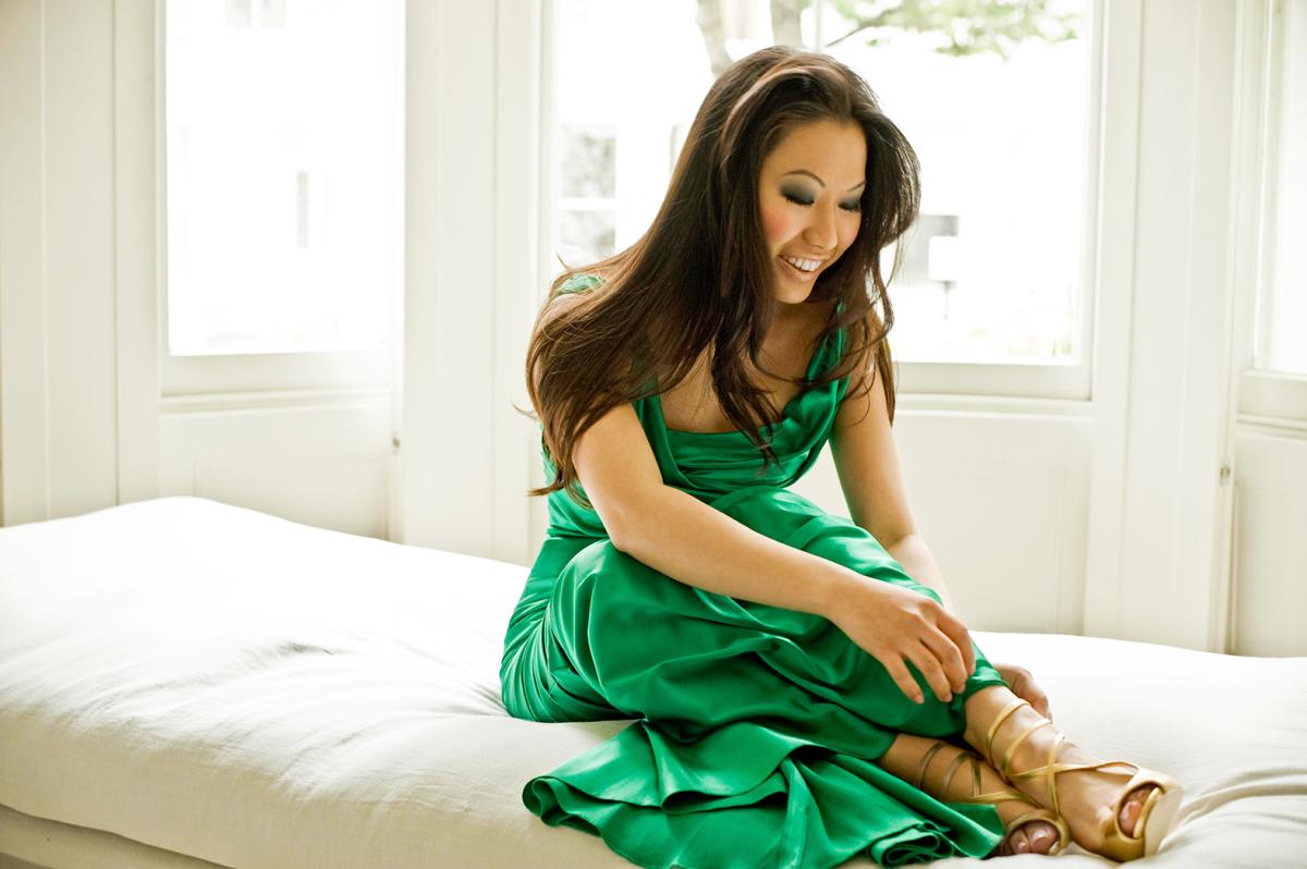 Sarah Chang_green dress