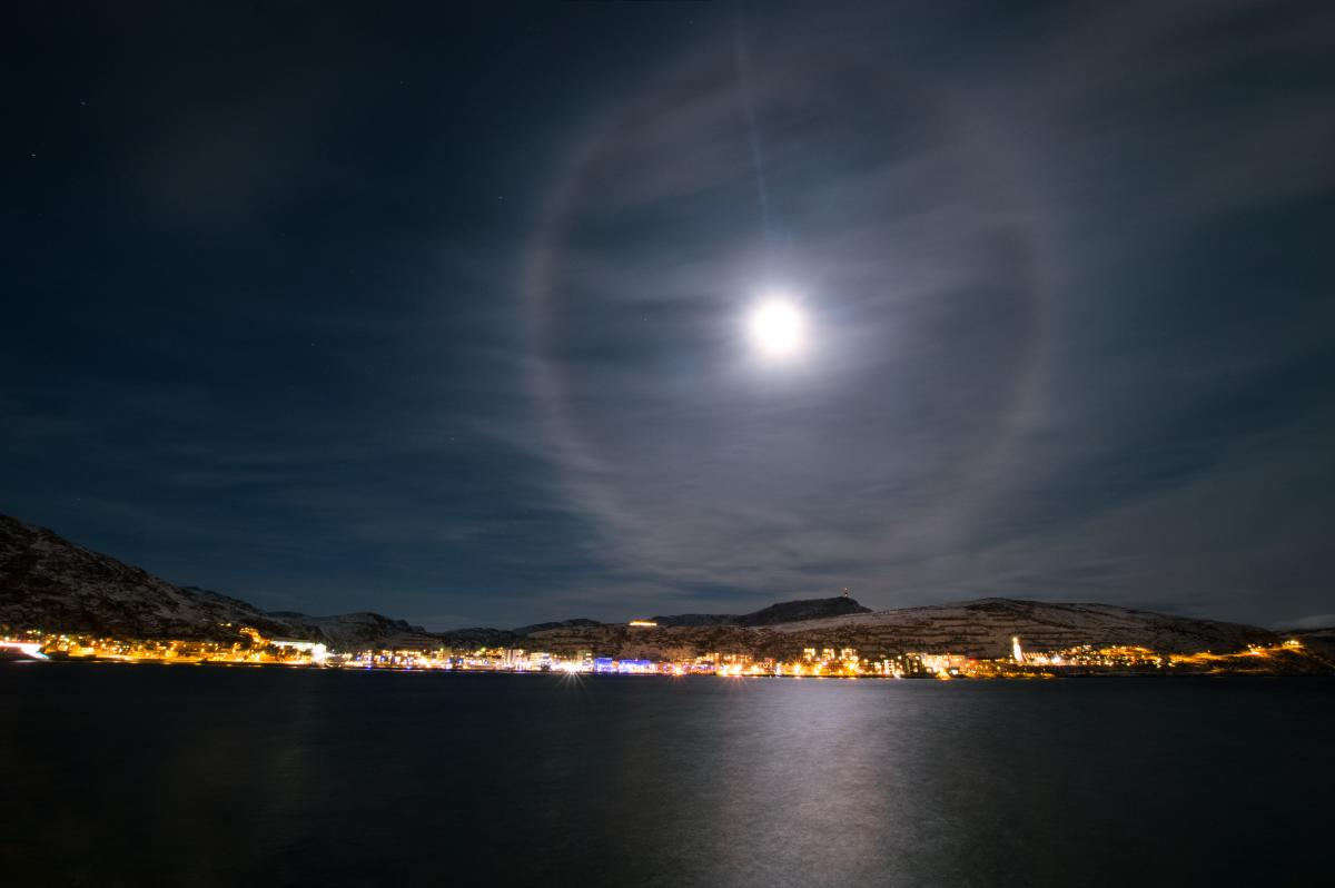 A moon halo over Hammerfest, the world's most northern city.