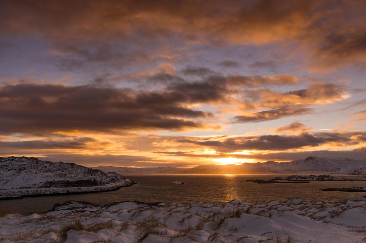 The year's first sunrise in Akkarfjord late January