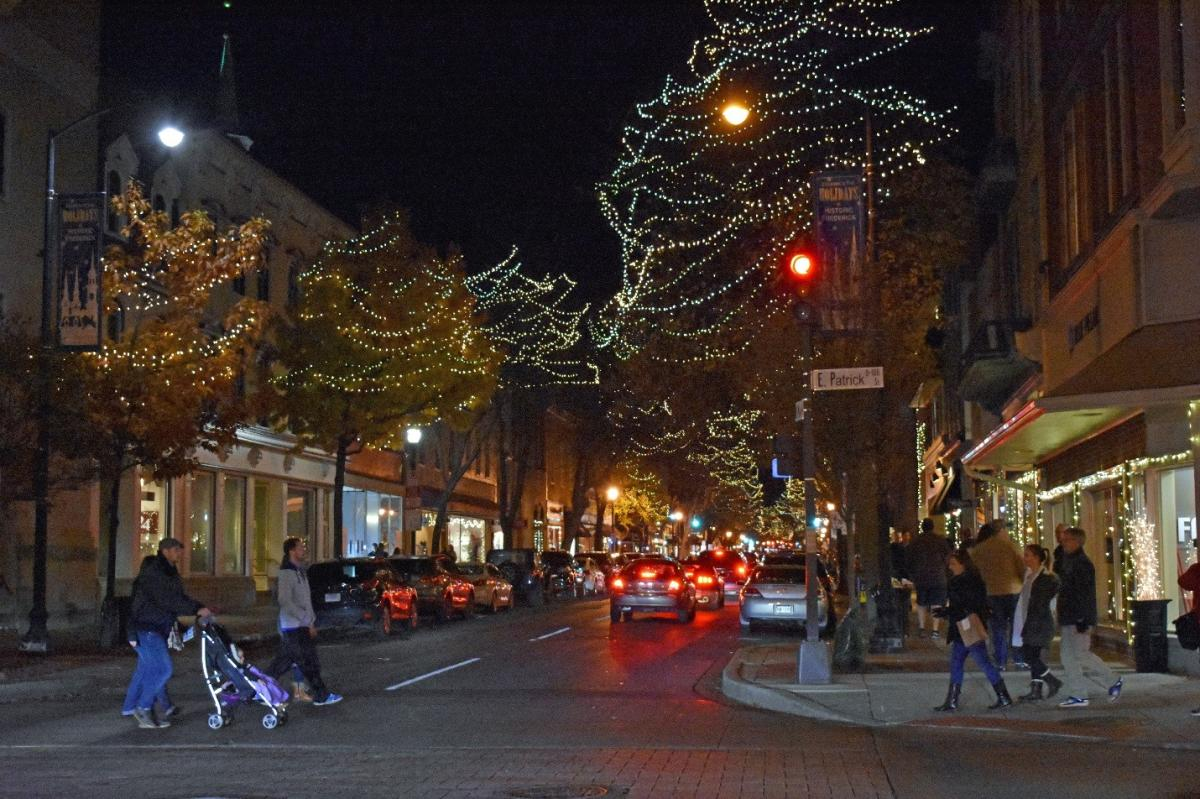Downtown Frederick At Night With Holiday Lights